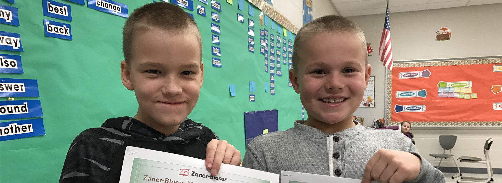 Winners in the Handwriting Contest for Mrs. Thomas Second Grade  James Wells and Zerik Rinard